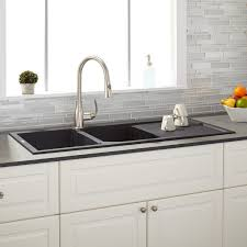 sinks black chrome faucet white cabinets glass tile backsplash
