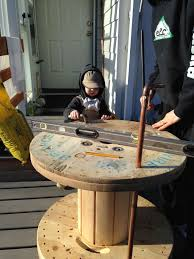 life alaskan style diy distressed wooden cable reel end table