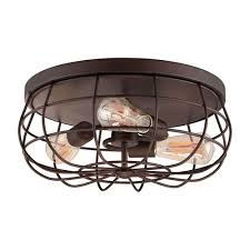 Flush To Ceiling Light Fixtures Millennium Lighting Neo Industrial Rubbed Bronze Three Light Flush