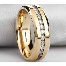 mens gold wedding band mens titanium ring with simulated diamonds gold tone wedding band ring
