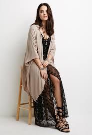 forever 21 crinkled asymmetrical kimono in brown lyst