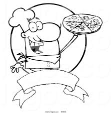 royalty free outlined pizza chef vector logo by hit toon 969