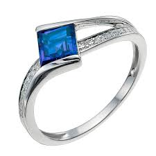 saphire rings 9ct white gold diamond created sapphire ring ernest jones