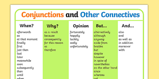 connectives list conjunctions and connectives