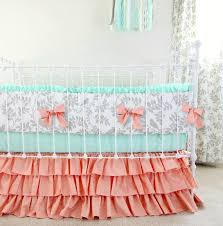 peach mint gray crib bedding set woodland birds baby bedding
