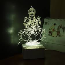 india god lakshmi 3d night light usb led desk table lampara dc5v