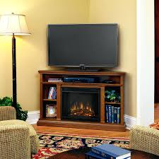 rustic corner electric fireplace entertainment center oak stand