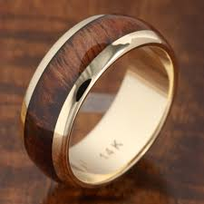 koa wedding bands 14k solid yellow gold with koa wood inlay wedding ring 7mm
