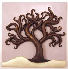 polymer clay home decor winter tree polymer clay relief sculpture wall home décor ooak