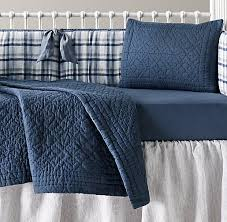 Vintage Boy Crib Bedding Washed Linen Plaid European Vintage Washed Percale Nursery