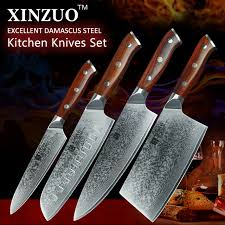 2017 xinzuo damascus steel kitchen knife set 8 inches chef knives