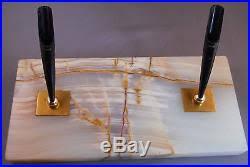 parker vintage double white marble desk set working fountain pen