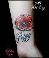 poppy u2013 poppy flower tattoo on wrist by red dog