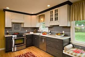 multi color kitchen ideas candlelight cabinets for a traditional kitchen with a window