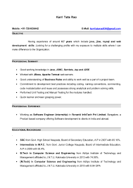 Resume Examples Internship Resume With 7 Months Internship Experiance In Java