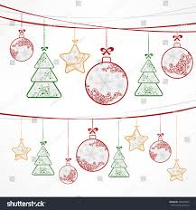 christmas ornament decoration stars trees balls stock vector