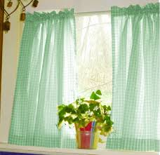 Green Kitchen Curtains Mint Green Gingham Kitchen Café Curtain Unlined Or With White Or