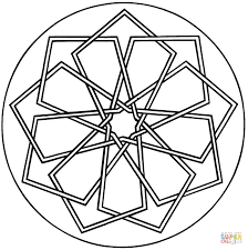 simple geometric mandala coloring page free printable coloring pages