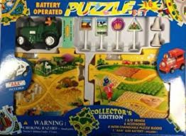 puzzle car set battery operated farm tractor toys