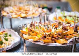 buffet table canape sandwiches snacks stock photo