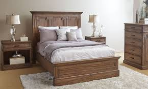 Solid Mahogany Bedroom Furniture by Vintage Rustic Solid Wood Queen Panel Bedroom The Dump