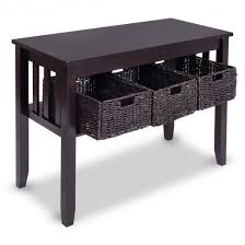 Accent Table With Storage Wooden Rectangular Side Storage Table With 3 Storage Baskets