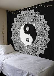 amazon com black and white tapestry yinyang wall hanging