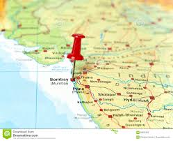Mumbai India Map by Pin Set On Mumbai Stock Photo Image 69655302