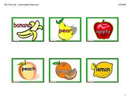 english for kids esl kids fruits flashcards