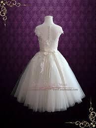 tea length wedding dresses ivory retro tea length wedding dress with illusion neckline