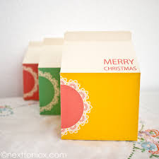 christmas packaging milk cartons next to nicx