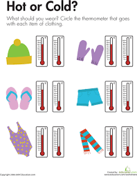 temperature or cold worksheets warm and science worksheets
