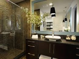 Bathroom Accent Cabinet Contemporary Bathroom Ideas Grey Floor Mount Faucet Red Brown Tile