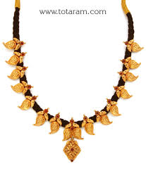 black neck from necklace images 22k gold 39 mango 39 necklace with black thread temple jewellery jpg