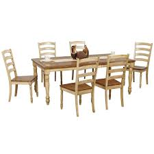 robins lane 7 piece turned leg table and ladderback chair set
