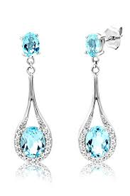 byjoy jewellery byjoy 925 oval shaped sky blue topaz dangle earrings jewellery