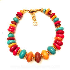 resin beaded necklace images Chanel vintage amber red yellow aqua resin bead and goldtone jpg