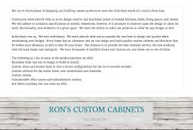 rons custom cabinets information