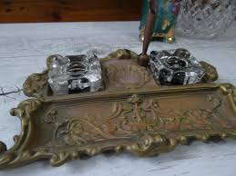 Antique Home Decor Vintage Ornate Brass Antique Inkwell With Pen Holder 2 Glass Ink