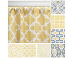 Yellow And Grey Window Curtains Two Yellow Grey Curtain Panels Geometric Window Treatments