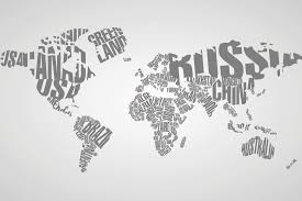 Black And White World Map Typography World Map Wallpaper Wall Mural Muralswallpaper Co Uk