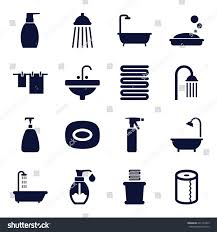 bath icons set set 16 bath stock vector 601772495 shutterstock