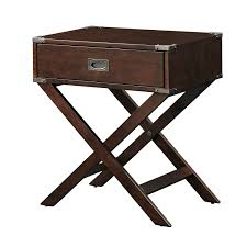 espresso brown wood 1 drawer end table nightstand with x legs
