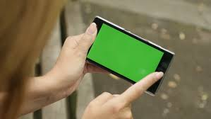 Key Bench Outdoor On The Bench Female Holding Chroma Key Green Screen Phone