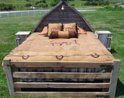 Wood Head And Footboards Rustic Bed Etsy