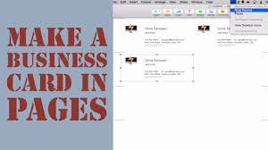 how to create a business card in pages for mac youtube