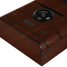 video doorbell techskin dark wood skin wi fi enabled