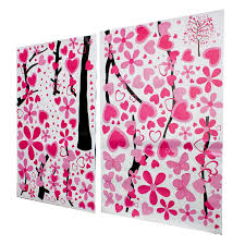 Butterfly Home Decor Large Beautiful Pink Butterfly Flower Tree Wall Sticker Living