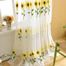 Sunflower Yellow Curtains Yellow Sunflower Yarn Transparent Sheer Curtains