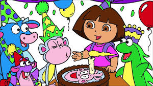 dora the explorer coloring page 5 boots birthday party little